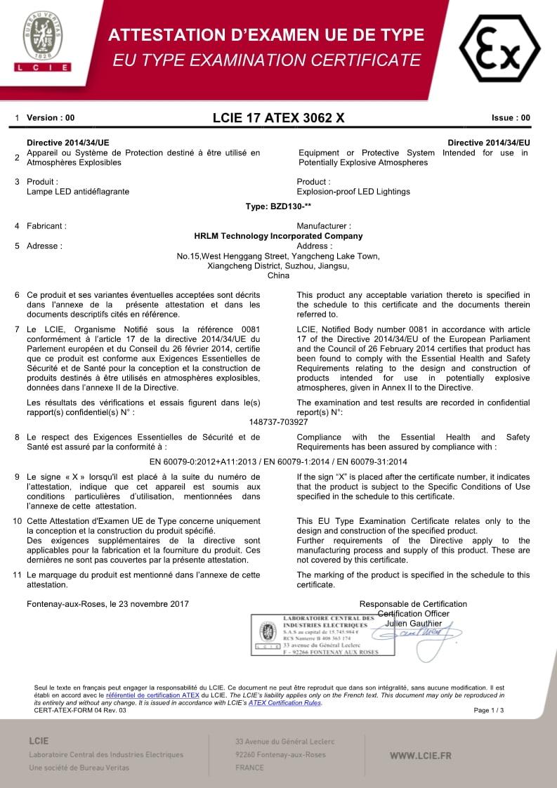 BZD130 Series Explosion-proof LED Lighting - ATEX Certificate