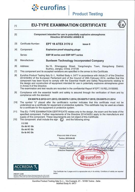 EBP Series Ex-Proof Stopping Plugs Atex
